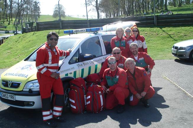 Some of the Med Team with the Ben Lightowler Vehicle & Kit bought by the Ben Fund